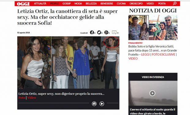 Captura de la publicación Oggi