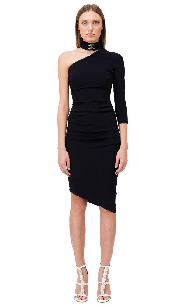 vestido drapeado asimétrico Elisabetta Franchi