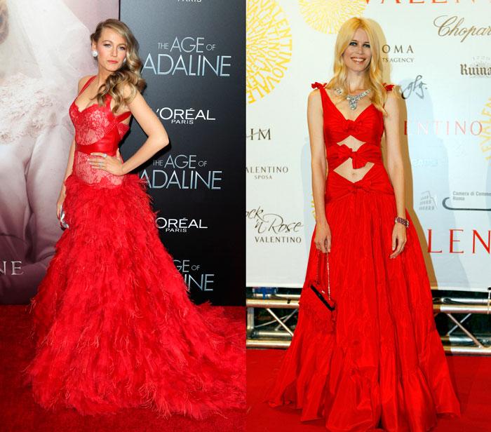 Blake Lively Claudia Schiffer rojo