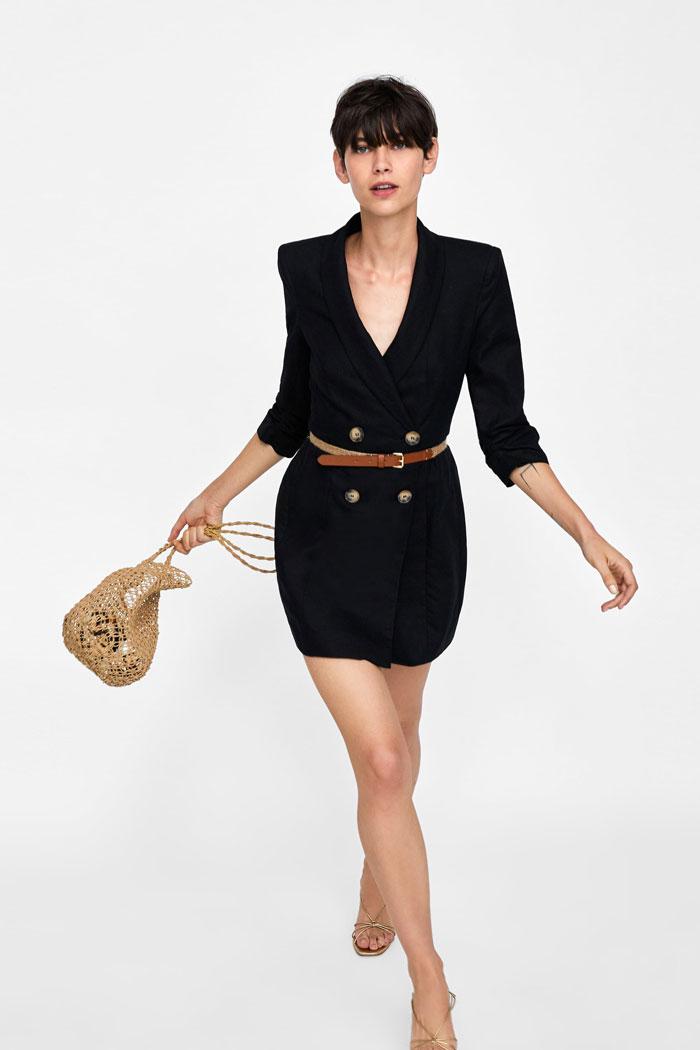 Zara vestido blazer negro