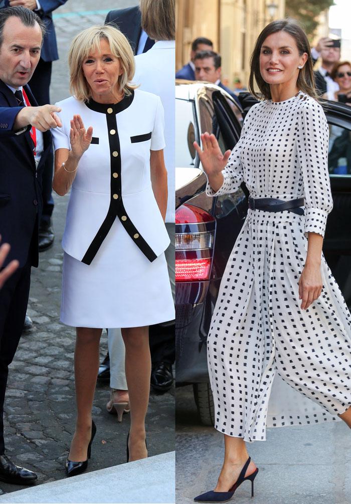 Brigitte Macron Doña Letizia looks blancos