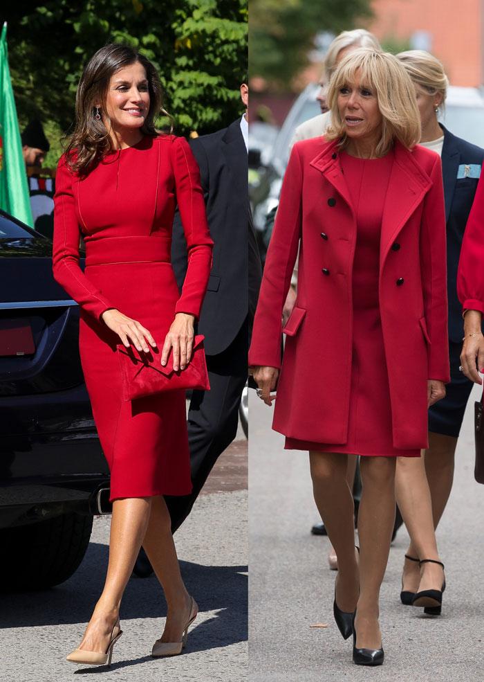Brigitte Macron Doña Letizia looks rojos