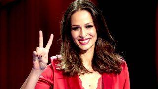 Eva González en la presentación de 'La Voz'/ Gtres