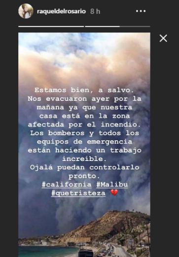 El peor susto de Raquel del Rosario: evacuada de su casa en Malibú por los incendios