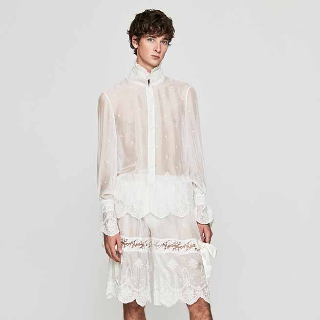 Conjunto de camisa y pantalón de seda bordada / Palomo Spain