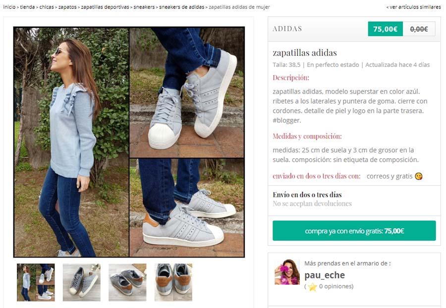 Una captura del perfil de Paula Echevarría en Chicfy