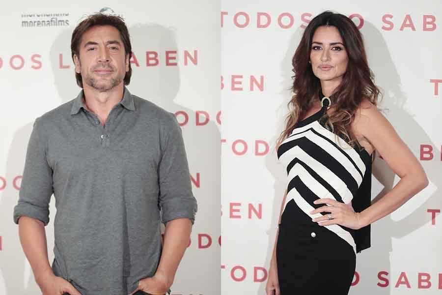 Penélope Cruz y Javier Bardem durante el estreno de 'Todos lo saben'