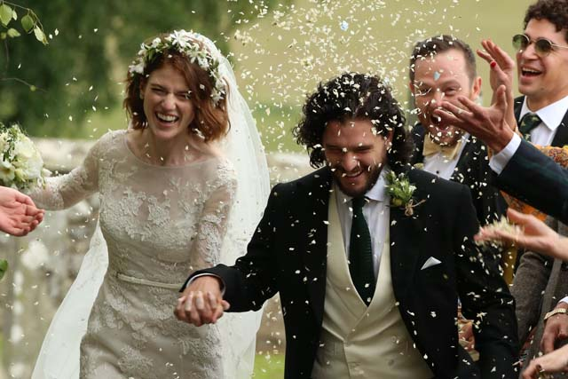 Kit Harrington y Rose Leslie el día de su boda