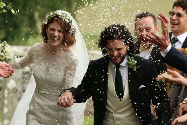 Kit Harrington y Rose Leslie el día de su boda