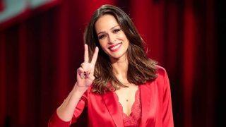Eva González, durante la presentación de 'La Voz' / Gtres