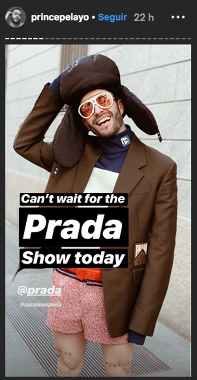 Pelayo y su look para el desfile de Prada en Milán
