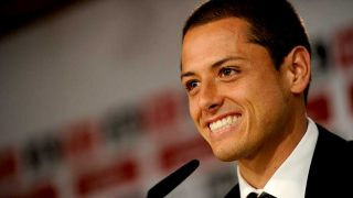 Chicharito Hernández, durante una rueda de prensa cuando era jugador del Real Madrid / Gtres