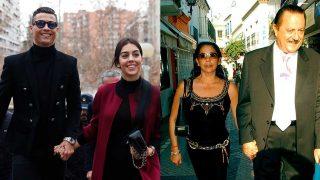 Georgina Rodríguez y Cristiano vs. Isabel Pantoja y Julián Muñoz, en fotomontaje de LOOK / Gtres