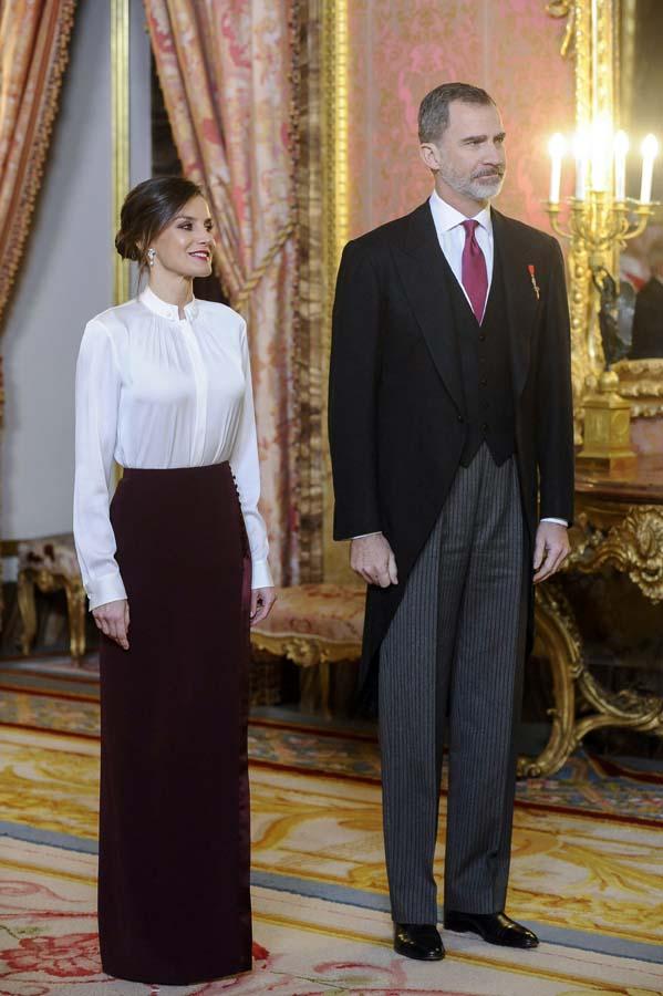 Letizia en la recepción del cuerpo diplomático 2018