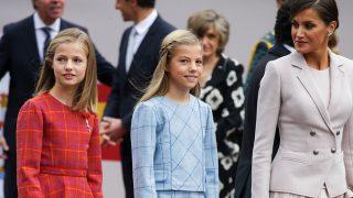 La reina Letizia con sus hijas el pasado 12 de octubre  / Gtres