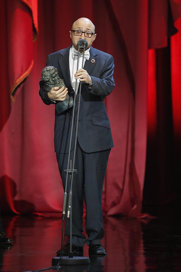 Jesús Vidal durante su discurso al recoger el Goya a Mejor Actor Revelación