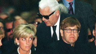 Diana de Gales y Karl Lagerfeld en el funeral de Versace / Gtres