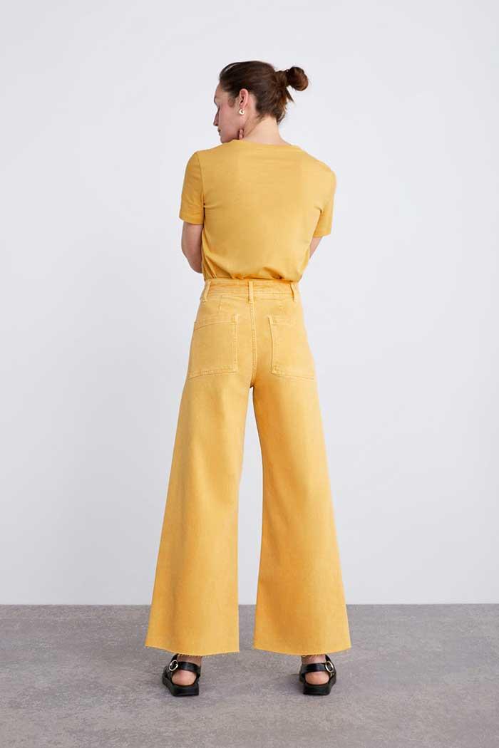 pantalon mostaza pallazzo zara