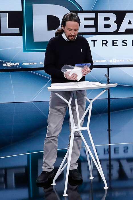 Pablo Iglesias durante el Debate de Antena 3