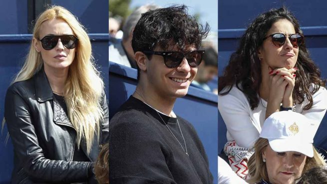 Carolina Cerezuela, Alfred y Xisca Perelló durante el primer partido de Rafa Nadal en el Conde de Godó