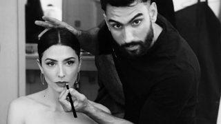Iván Gómez durante una sesión de maquillaje con Bárbara Lennie / Instagram