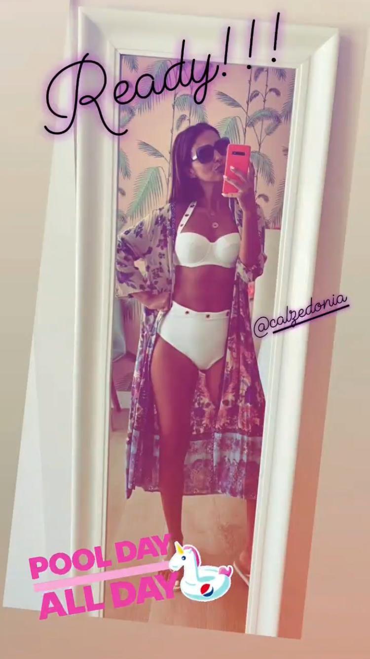 paula echevarría bikini blanco calzedonia