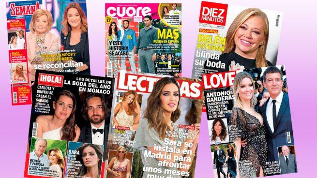 La boda de Belén Esteban y la recuperación de Sara Carbonero, protagonistas del quiosco