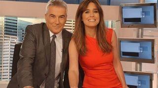 Isabel Jiménez y David Cantero en el plató de Informativos /Instagram