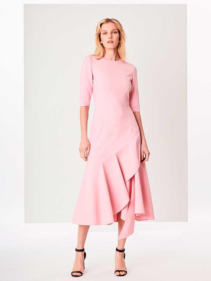 Vestido rosa asimétrico de Oscar de la Renta