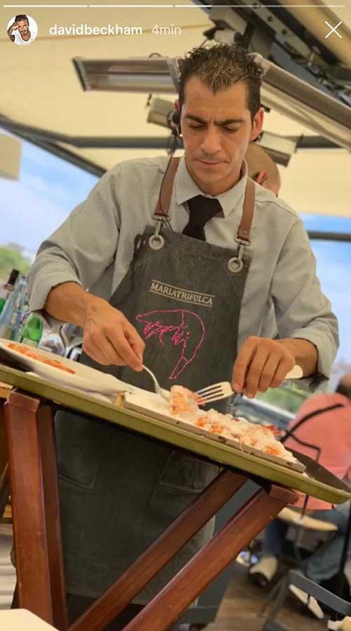 'Storie' de David Beckham durante su comida en María Trifulca, en Sevilla / Instagram