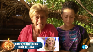 Belén Esteban entró por teléfono para apoyar a Chelo García-Cortés./Mediaset
