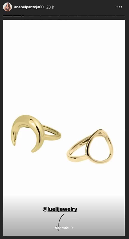 Storie de Anabel Pantoja anunciando su anillo oval / Instagram
