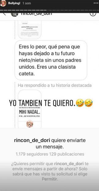 La suegra de Miki Nadal vuelve a la carga contra sus detractores