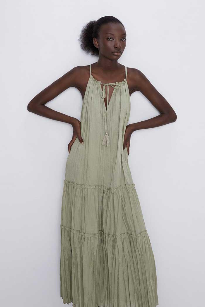 vestido caqui zara / Zara.com
