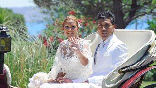 Tamara Gorro y Ezequiel Garay, durante su boda / Gtres.