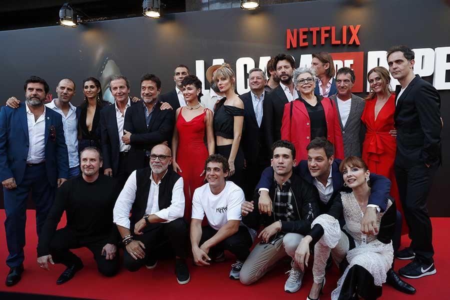 Todo el reparto de 'La casa de papel' durante el estreno de su última temporada / GTRES