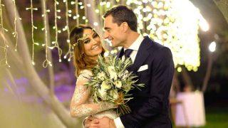 Elena González y Paco Ureña durante su boda / GTRES