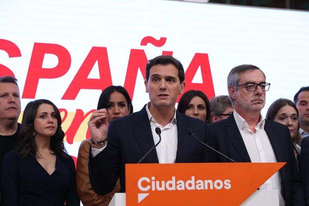 Albert Rivera durante su discurso tras el batacazo electoral de Ciudadanos / GTRES