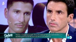 Hugo Sierra  y Gianmarco en su cara a cara en el plató de Sábado Deluxe / Telecinco