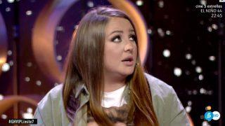 Rocío Flores, indignada con Hugo Castejón./Mediaset