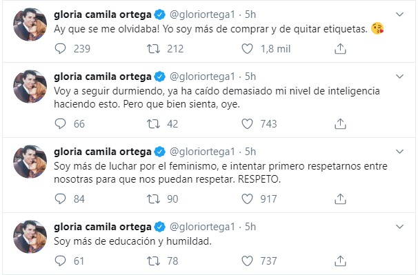 Sofía Suescun y Gloria Camila se pelean en Twitter: «Soy más de no meterme en la cama de los amigos de mi novio»