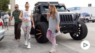 Jennifer Lopez llegando a un gimnasio en Miami/ Gtres