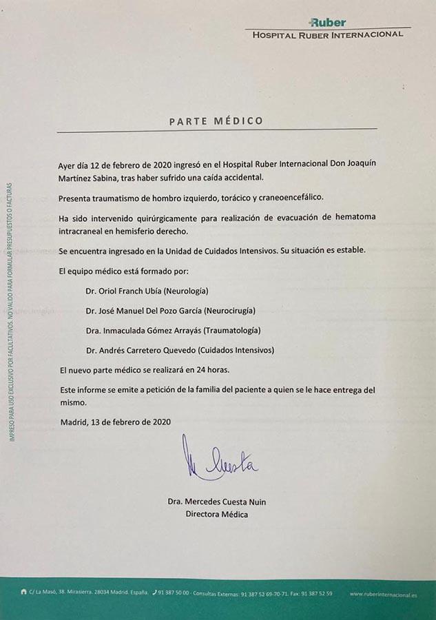 Parte médico de Joaquín Sabina / GTRES
