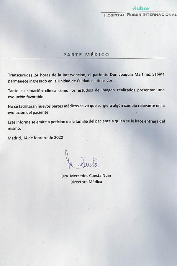 Parte médico de Joaquín Sabina/ GTRES