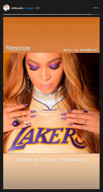 Beyoncé manicura tributo a Kobe Bryant