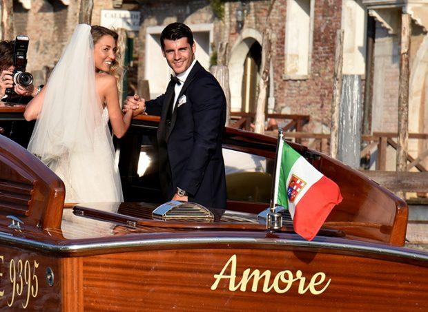 Alice Campello y Álvaro Morata en su boda de Venecia en 2017 / GTres