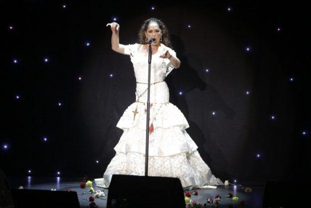 """La Cantante Isabel Pantoja durante un concierto con motivo de la presentación de su disco """" Hasta que se apague el sol """" en Aranjuez/Gtres"""