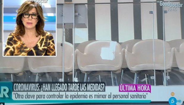 'El programa de Ana Rosa' sin público tras la medida tomada por Telecinco frente al coronavirus / Imagen de Telecinco