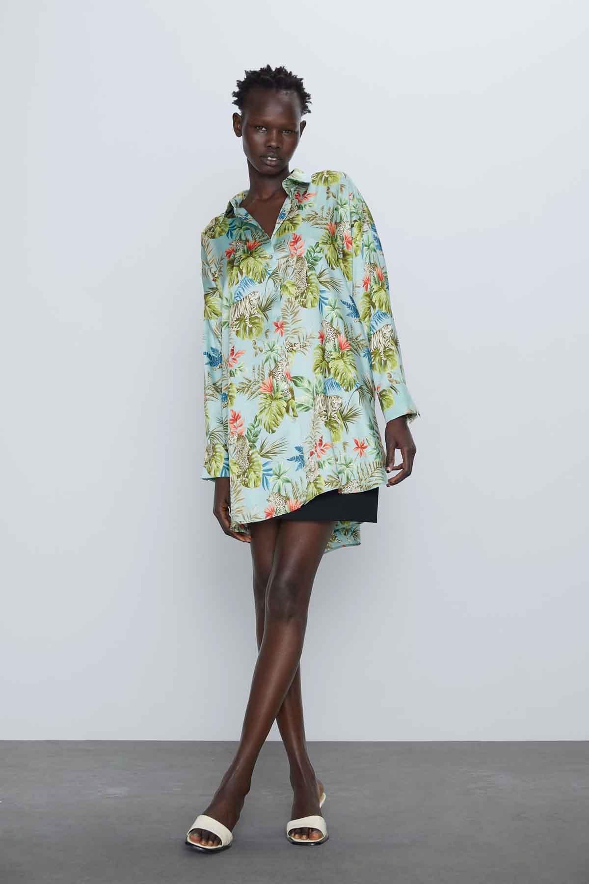 Camisa estampado tropical / Zara