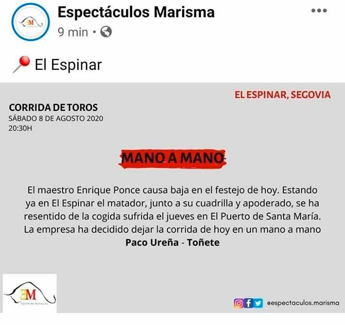 La plaza de El Espinar ha emitido un comunicado para informar de la baja de Enrique Ponce / Espectáculos Marisma